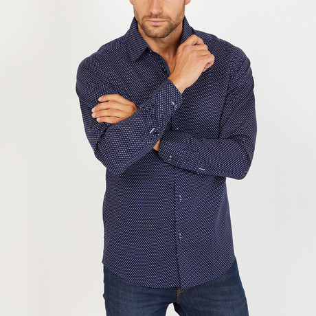 Andrew Long Sleeve Button-Up Shirt // Blue + White (Small)
