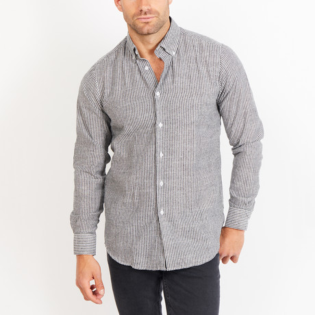 Alfred Long Sleeve Button-Up Shirt // Gray + White (Small)