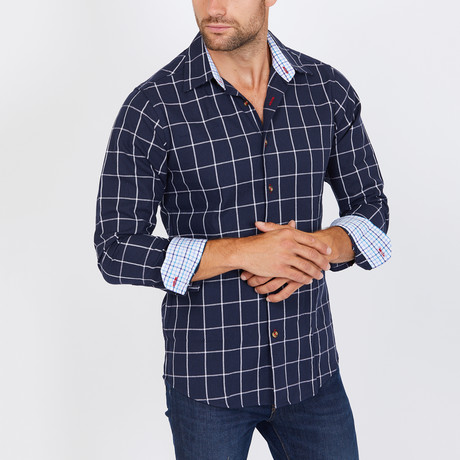 Dickinson Long Sleeve Button-Up Shirt // Royal Blue + White (Small)