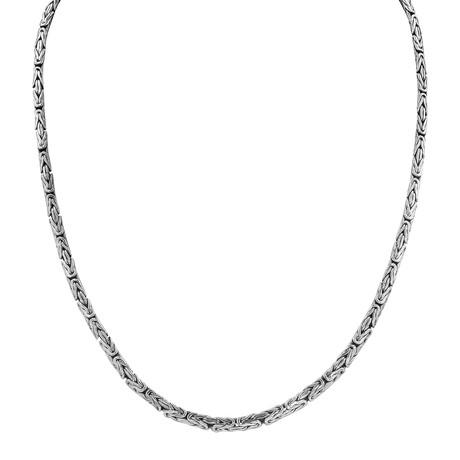 Silver Oval Byzantine Chain