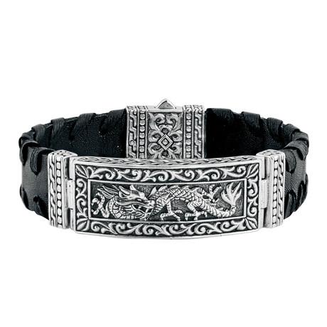 Silver + Leather Dragon Bracelet // Black
