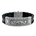 Men's Silver + Leather Dragon Bracelet // Black