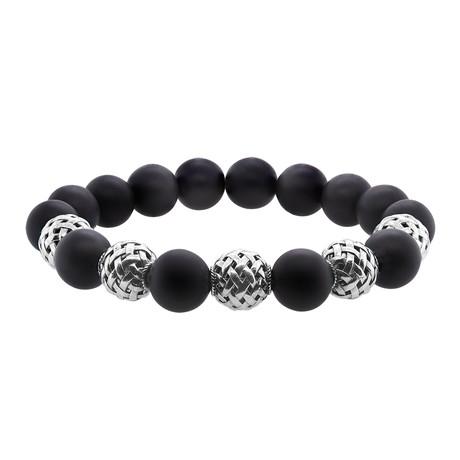 BroManse Silver + Frosted Onyx Stretch Bracelet