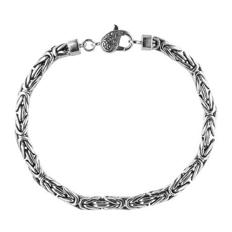 """Men's Silver Byzantine Bracelet // 8.25"""""""