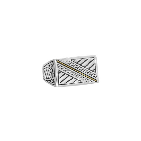 Men's Flat Top Ring // Silver + Gold (9)