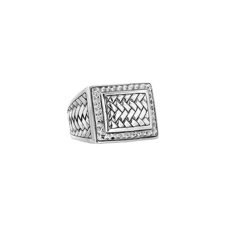 Men's Silver Basket Weave Ring (9)