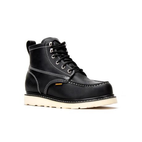 Bonanza // Men's 6'' Moc-Toe Wedge Boots // CarbonBlack (US: 5)