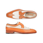 Dual Tone Wingtip Derby Shoes // Cognac + Cream (Euro: 40)
