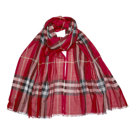 Burberry Lightweight Check Wool + Silk Scarf // Red