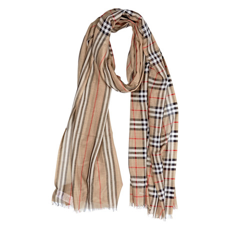 Check-To-Stripe Wool Scarf // Brown