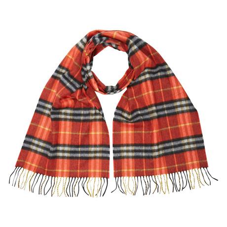 Castleford Check Cashmere Scarf // Red + Orange