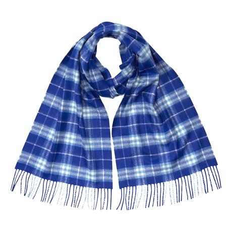 Vintage Check Cashmere Scarf // Blue