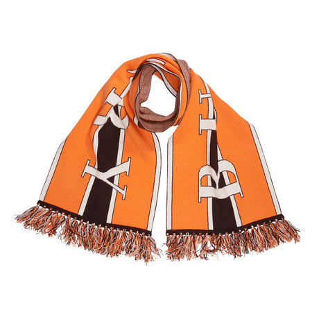 Burberry Football Text Cashmere Scarf // Brown + Orange