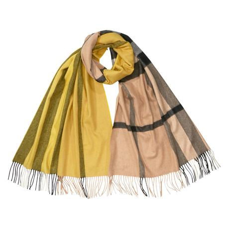 Half Check Cashmere Scarf // Yellow