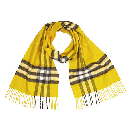 Giant Check Cashmere Scarf // Yellow