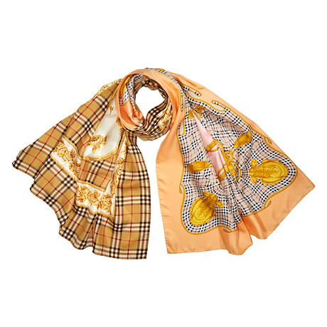 Burberry-W-Oblongs Silk Scarf // Camel