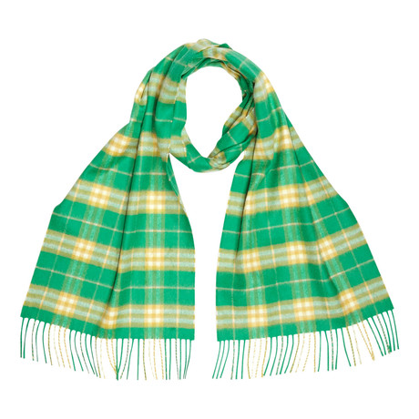 Vintage Check Cashmere Scarf // Green + Yellow