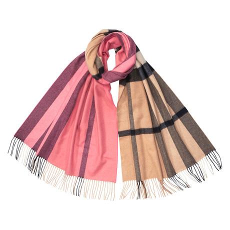 Half Check Cashmere Scarf // Pink
