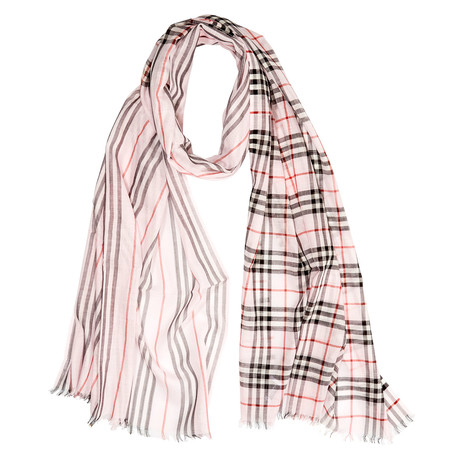 Check-To-Stripe Wool Scarf // Pink