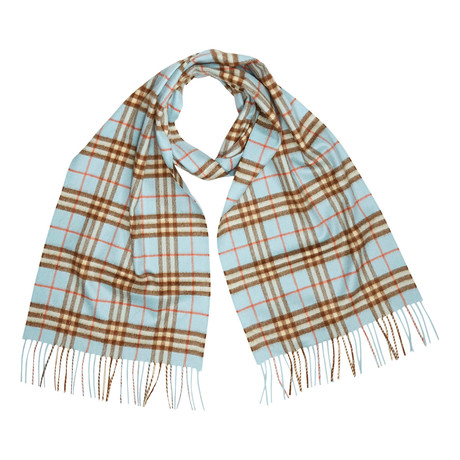 Vintage Check Cashmere Scarf // Baby Blue