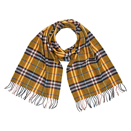 Burberry Castleford Check Cashmere Scarf // Yellow
