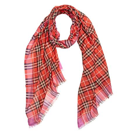 Burberry Check Wool + Silk Scarf // Bright Orange Red