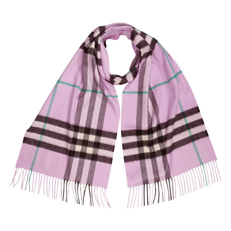 Giant Check Cashmere Scarf // Pink