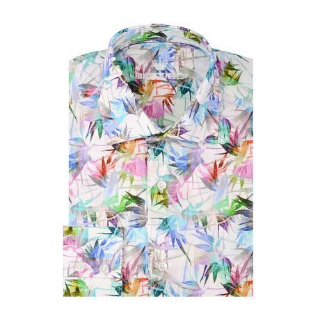 Tropical Poplin Print Long Sleeve Shirt // White (S)