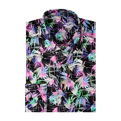 Tropical Poplin Print Long Sleeve Shirt // Black (S)