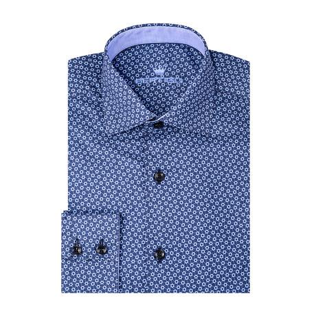 Polygon Poplin Print Long Sleeve Shirt // Navy Blue (S)