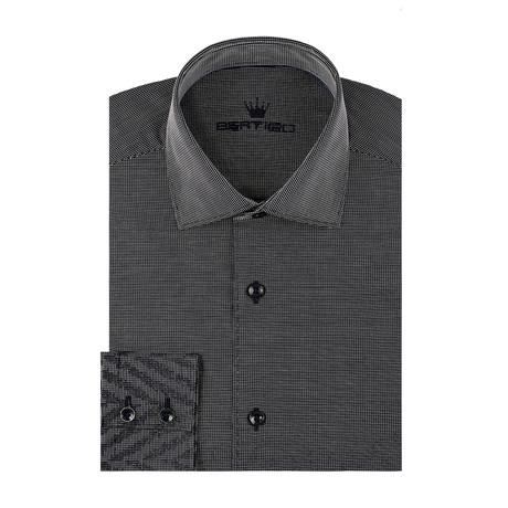 Gradient Zig Zag Long Sleeve Shirt // Navy Blue (S)