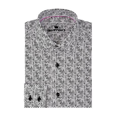 Circle Poplin Print Long Sleeve Shirt // Black (S)