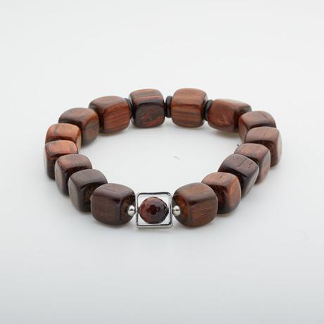Jean Claude Jewelry // Sandalwood + Red Tiger Eye Stone Bracelet // Multicolor