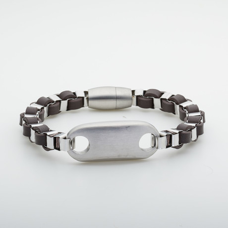 Jean Claude Jewelry // Leather + Stainless Steel Bracelet // Multicolor