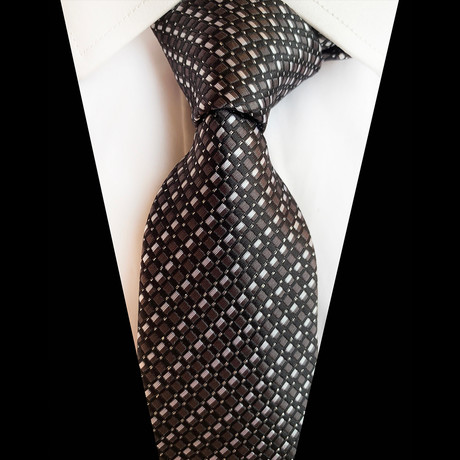Handmade Silk Tie // Brown Black Cross Stripe