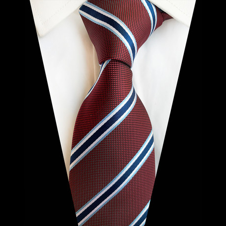 Handmade Silk Tie // Maroon + Blue Stripe