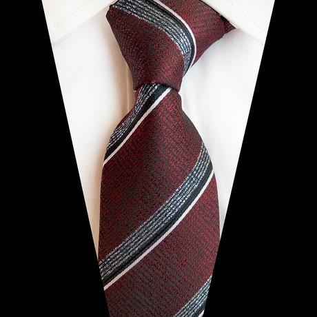 Handmade Silk Tie // Brushed Maroon Stripe
