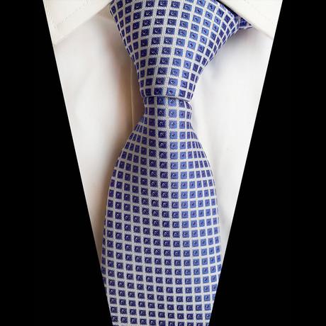 Handmade Silk Tie // Blue Silver Grid Design