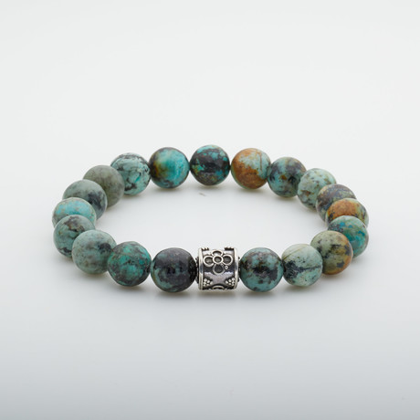 Dell Arte // Willpower Beaded Bracelet // Green + Silver