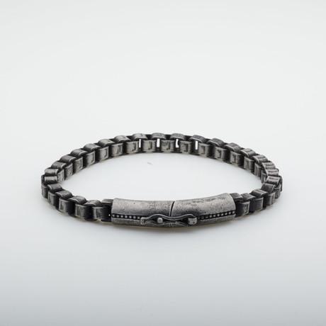 Dell Arte // Gunmetal + Stainless Steel Chain Bracelet // Silver