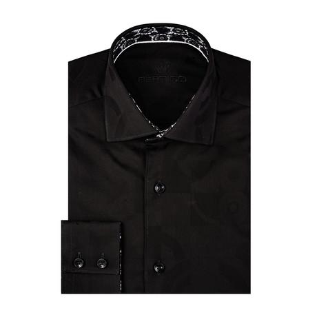 Abstract Circle + Square Art Jacquard Long Sleeve Shirt // Black (S)