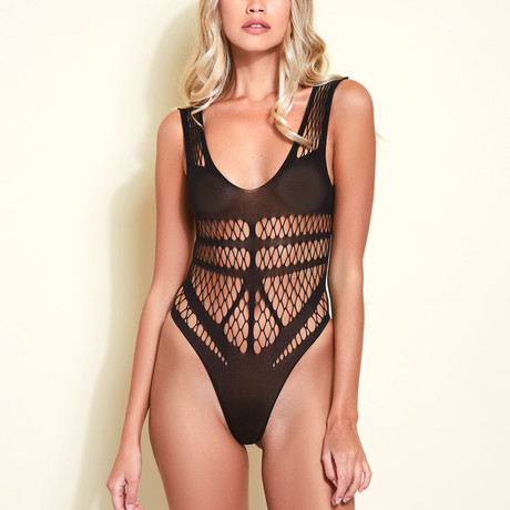 Caged Fever Fishnet Teddy // Black