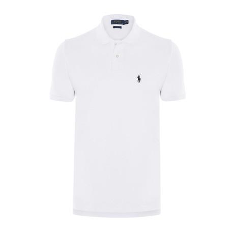 Mesh Polo Shirt // White + Black (S)
