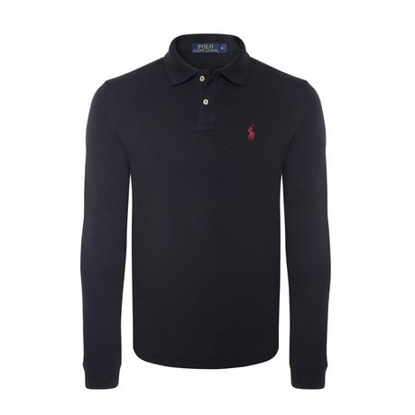 Custom Slim Fit Mesh Polo Shirt // Black + Red (S)