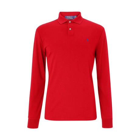 Custom Slim Fit Mesh Polo Shirt // Red + Blue (S)