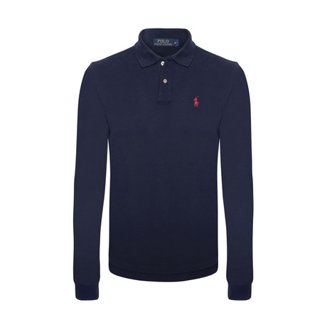 Custom Slim Fit Mesh Polo Shirt // Navy + Red (S)