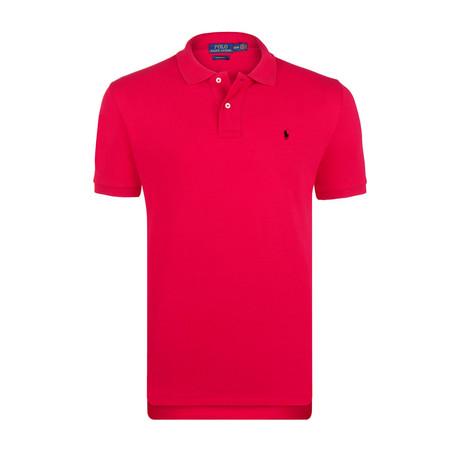 Mesh Polo Shirt // Crimson + Black (S)