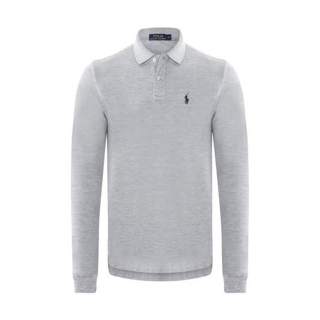 Custom Slim Fit Mesh Polo Shirt // Andover Heather + Navy (S)