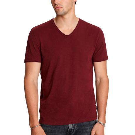 Miles Short Sleeve Slub V-Neck + Cut Raw Edge // Port (XS)