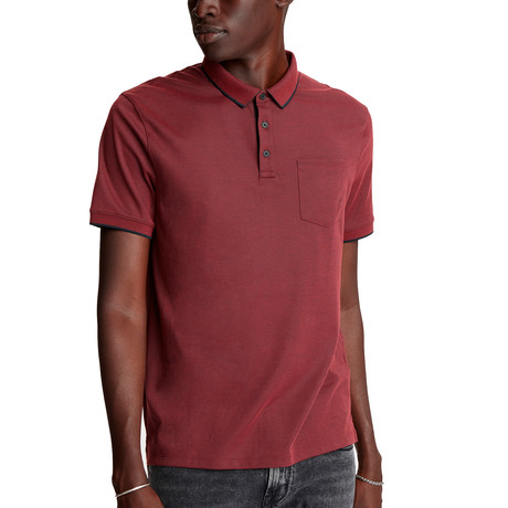 Cambridge Short Sleeve Birdseye Pique Polo + Chest Pocket // Crimson (XS)